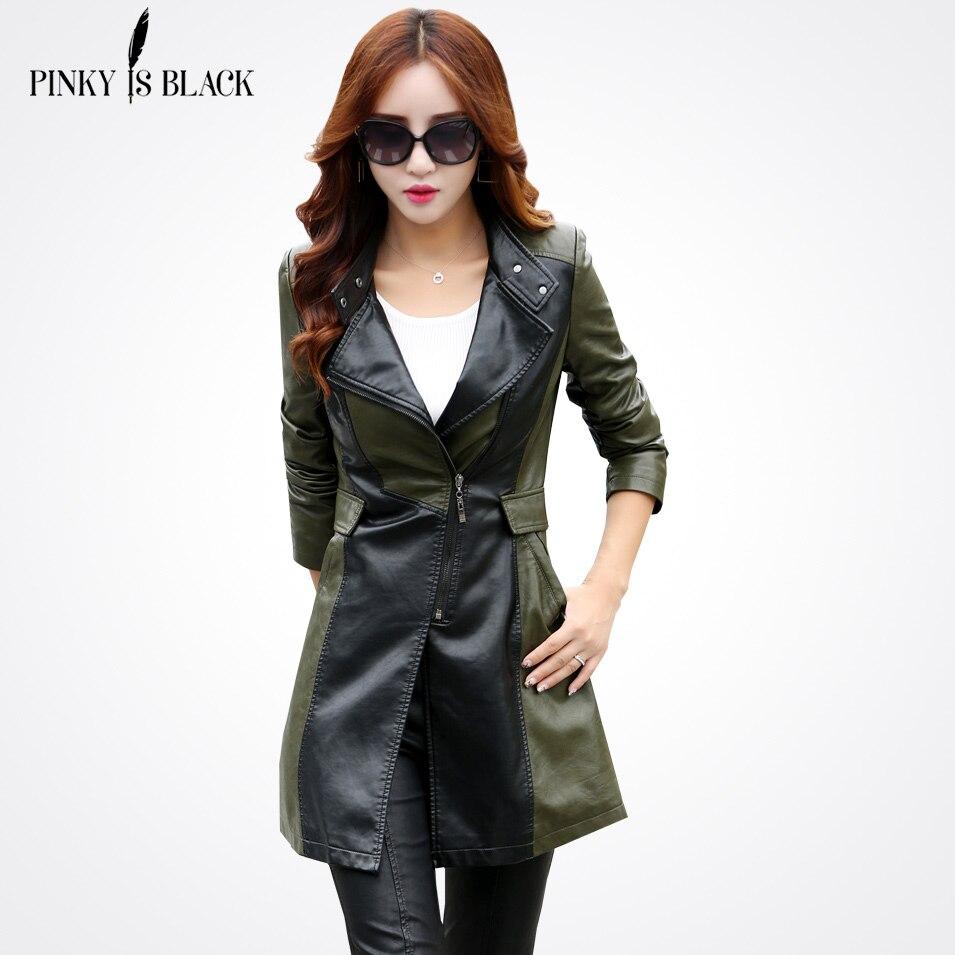 Pinky Is Black Spring And Autumn   leather   jacket women casual long sleeve long coat fashion plus size PU   leather   jacket femininas