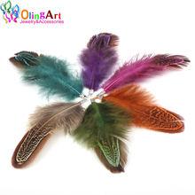 Цветные Серьги olingart из натуральных перьев 12 шт женские