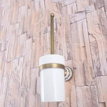 Montaje en la pared Retro Vintage latón antiguo baño cepillo soporte Set baño accesorio simple Taza de cerámica mba783