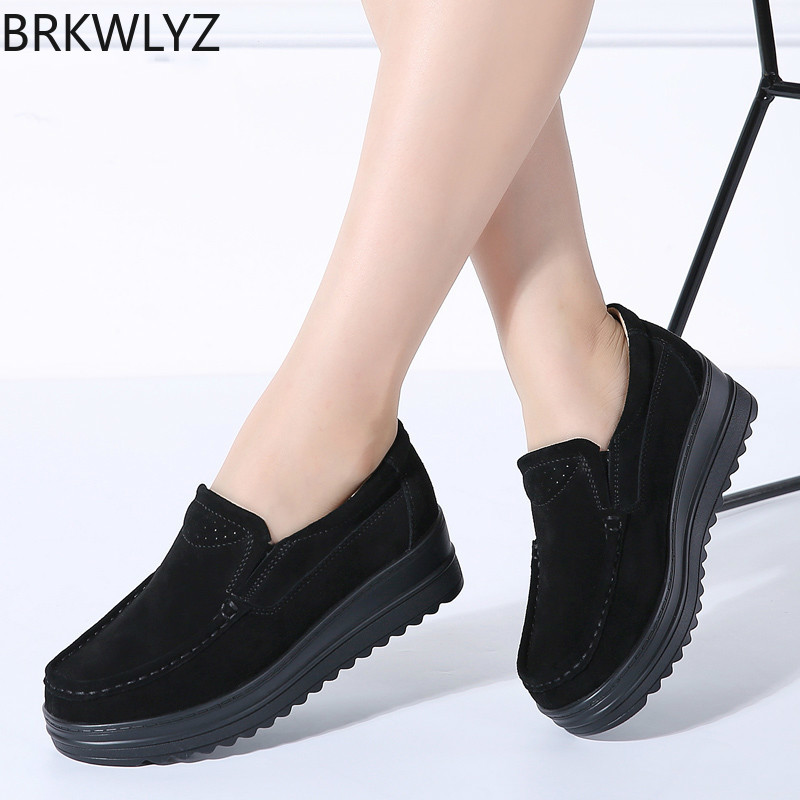 BRKWLYZ 2019 Spring women flats platform loafers sneakers shoes women   leather     suede   slip on creepers casual moccasins shoes