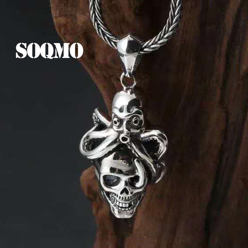 SOQMO Hiphop Animal poulpe croix pendentif 100% 925 en argent Sterling hommes femmes collier de mariage pendentif de luxe fabrication de bijoux