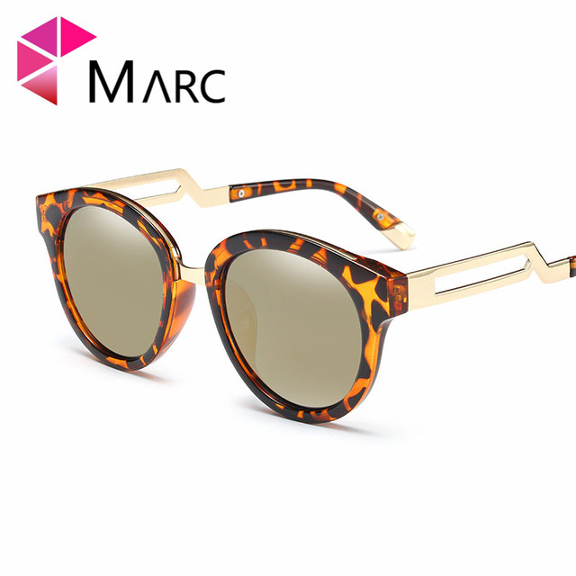 8668b5d74dd65 MARC UV400 NEW WOMEN MEN sunglasses oculos Black Plastic Gradient Pink  Mirror Cat eye Leopard Alloy Metal