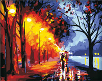 Street Scenery DIY Painting By Numbers Handpainted Oil Painting Living Room Home Wall Sticker 40x50cm