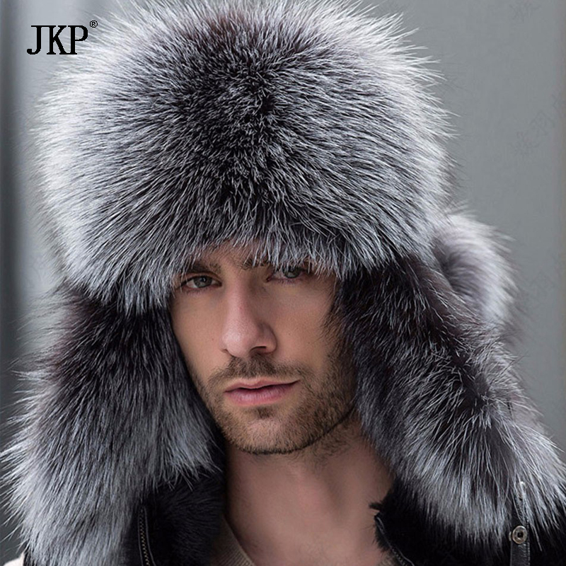 Russian Leather Bomber Leather Hat Men Winter Hats With Earmuffs Trapper Earflap Cap Man Real Raccoon Fur Black Fox Hatska(China)
