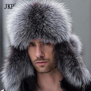 Winter Hats Earmuffs Raccoon-Fur Bomber Russian-Leather Trapper Earflap-Cap Black Real