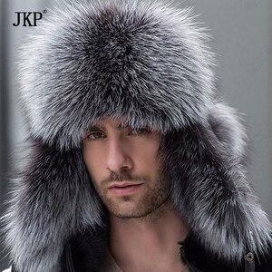 Image 1 - Russian leather bomber leather hat men winter hats with earmuffs trapper earflap cap man real raccoon fur black fox hatska