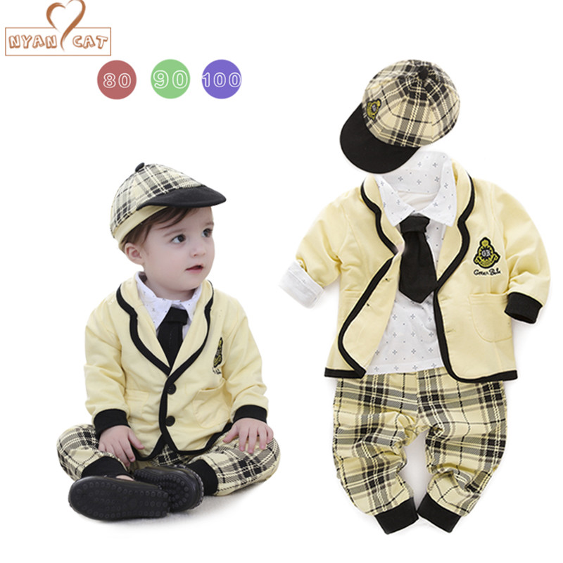 Nyan Cat Baby boy sets cotton shirt+plaid pants+coat+hat+tie long sleeves yellow clothes for college style suits outfit costume