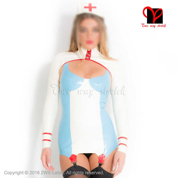 Sexy Latex Nurse uniform Rubber Dress garter boleros headgear doctor Playsuit Medical Bodycon crop top suspender plus QZ-063