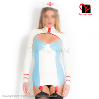 Sexy Latex Nurse uniform Rubber Dress garter boleros headgear doctor Playsuit Medical Bodycon crop top suspender plus QZ 063