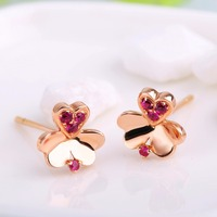 Robira Free Shipping Ruby Earrings 14K Gold Clover Design Ear Stu Precious Gem Birthstone Earrings