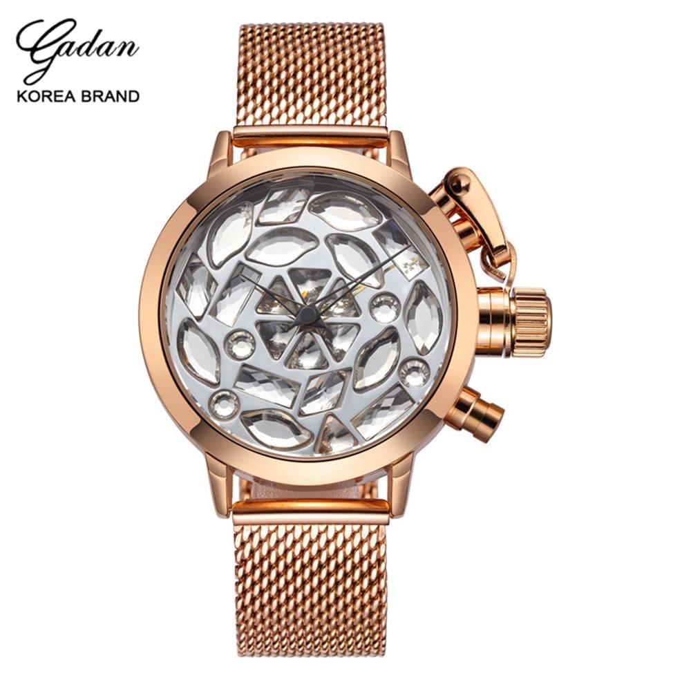ФОТО Yadan mesh alloy stainless steel women's wristwatch luxury waterproof diamond quartz watch casual watch women's fashion watch