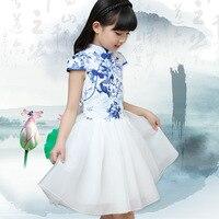 2-10ans Chinois Traditionnel Robe Vintage Floral Embrodiery robe de Bal Filles Robes Cheongsam Enfants Filles De Noce Costume