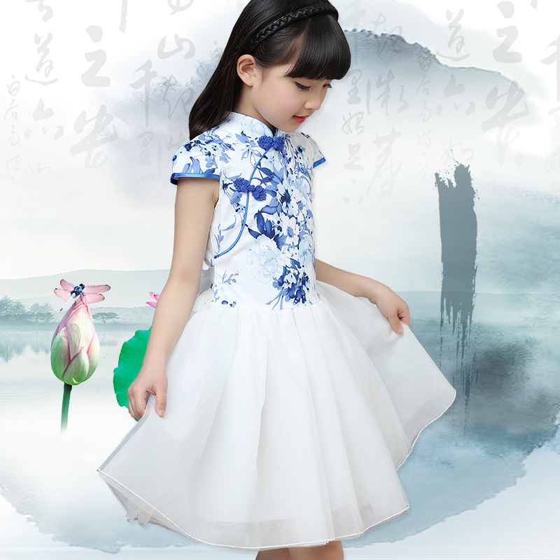 2-10yrs Chinese Traditional Dress Vintage Floral Embrodiery Ball Gown Girls Dresses Cheongsam Kids Girls Wedding Party Costume a z of embrodiery chinese embroidery handmade art design book