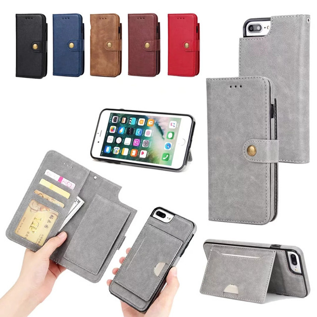 factory price d02ec dd884 US $12.69 |2 in 1 Luxury Magnetic Wallet Case for iPhone 7 Plus Detachable  Magnetic Flip Cover PU Leather for iPhone 7 Plus Coque Capinha-in Wallet ...