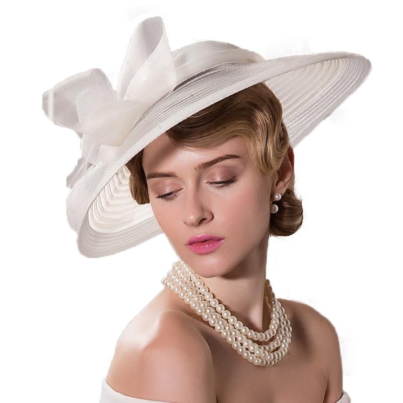 Fs Black White Wedding Large Wide Brim Women Hats Vintage Fedoras Elegant Bow Kentucky Derby Church Tea Party Hat Chapeau Feutre In From S