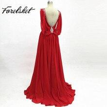 Вечерние платья с глубоким v-образным вырезом из красного шифона трапециевидной формы для выпускного вечера, вечерние платья с кристаллами, длина бисера, vestido de festa