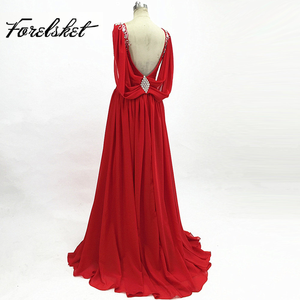 Deep V Neck Backless Red Chiffon Prom Dresses 2020 Sequined Crystal Beading Formal Evening Gowns Long A Line Floor Length