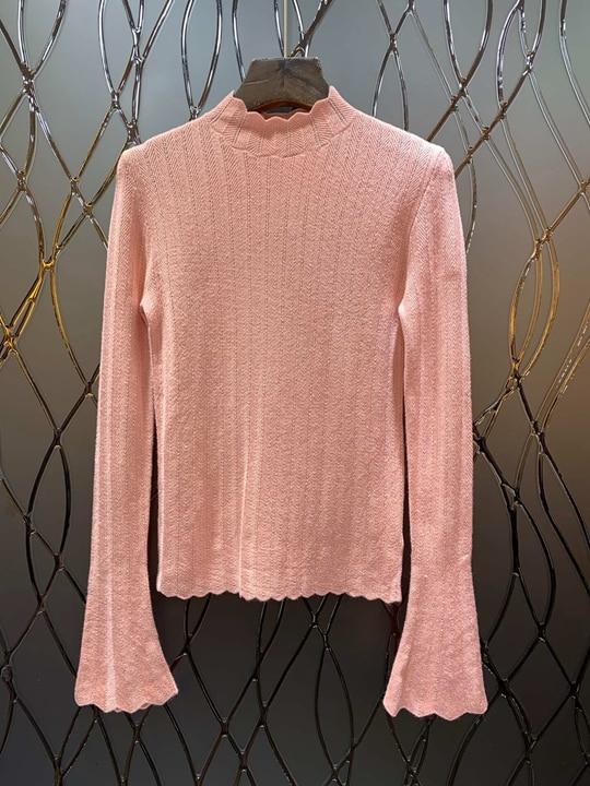 À Knitted1204 Chandail Longues Motif Vague rose blanc Baitie 2018 Corne Pur couleur Noir Neckle Manches YqInUP