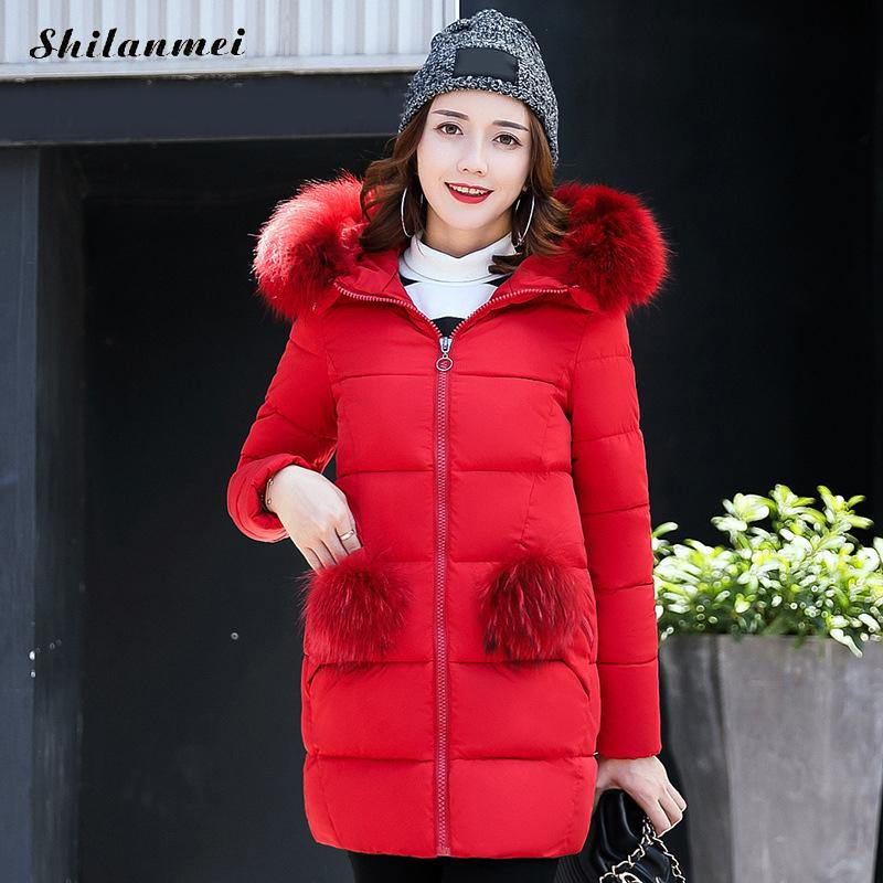 Snow Wear 2017 Winter Women Jacket Hooded Fur Parka Plus Size Zipper Long Jacket Thick Femme Outwear Red manteau femme hiver 3xl snow wear 2017 high quality winter women jacket cotton coats fur collar hooded parkas fashion long thick femme outwear cm1346