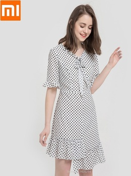 Xiaomi 10:07 elegant Fashion Bow Waist woman girl Polka dot V-neck Refreshing comfortable Female summer for dress Smart home
