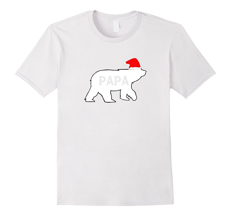 Christmas Family Pajama T-Shirt  Christmas Bear Santa HatCotton Men Tee-Shirts Classical Top Tee