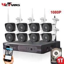 8CH CCTV System Kamery Bezprzewodowe 1080 P HD Plug Zagraj 20 m Night Vision P2P Wodoodporna Home Security Wifi Zewnętrzna Kamera IP System