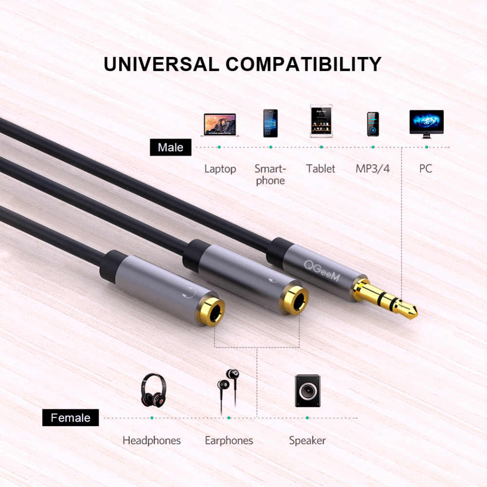 Qgeem Earphone Kabel Ekstensi Jack Kabel Audio 3.5 Mm MALE To 2 Female AUX Kabel Splitter Headphone untuk Iphone Samsung s9 PC P20