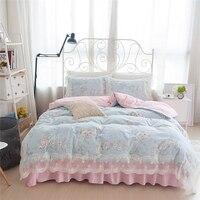 Корейский пасторальный цветок печати постельные принадлежности принцессы с оборками кружева douvet крышка элегантный полосатый beding морщин п