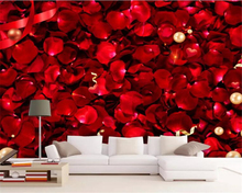 beibehang Custom 3d wallpaper modern Romantic red rose petals minimalist HD fashion background wall painting