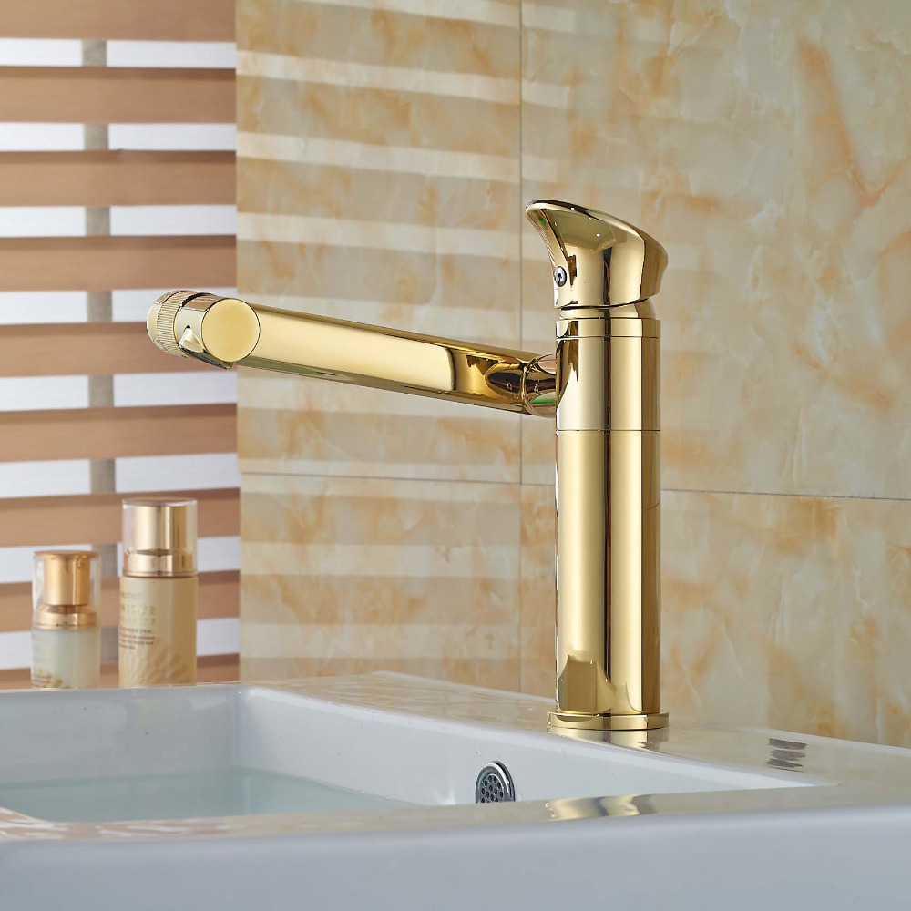 Bathroom Basin Faucet Swivel Spout 360 Degreen Vessel Vanity Sink Mixer Tap Golden Brass golden brass kitchen faucet dual handles vessel sink mixer tap swivel spout w pure water tap