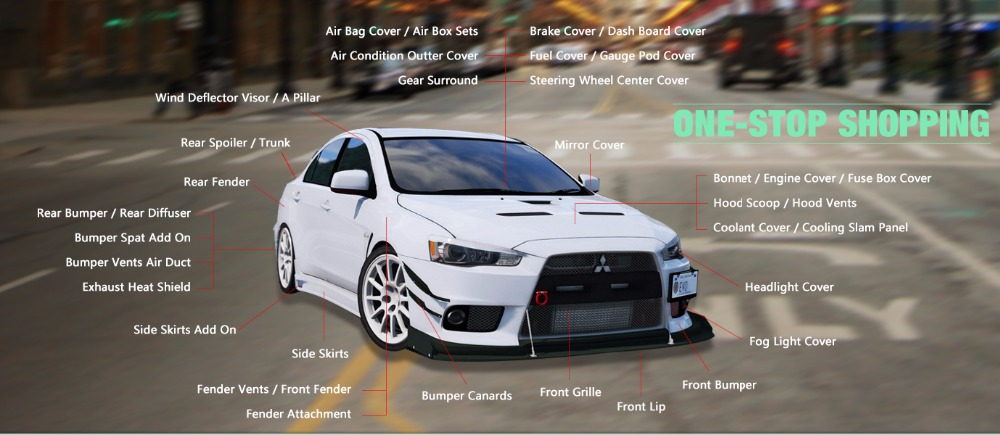 Carbon Fiber OEM Front Fender Vent Trim Glossy Fibre Engine Accessories  Racing Fit For Mitsubishi Evolution EVO 10 Car Styling