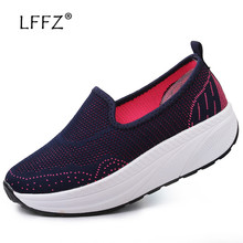 LFFZ Mesh Flat Shoes Women Health Slimming Ballet Flats Slip on Height Increased Loafers Casual Sneakers 35-42
