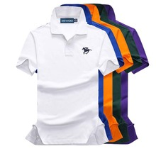 9 Colors Cotton Summer mens short sleeve solid color polos shirts small horse casual lapel Fashion slim tops P11