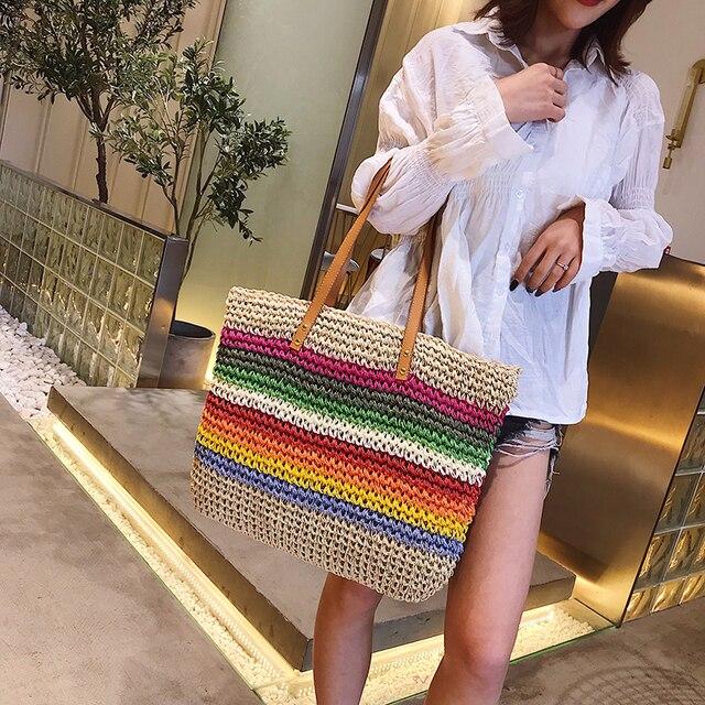 Женская пляжная сумка из ротанга, Плетеная соломенная сумка ручной работы, вместительная кожаная сумка тоут на плечо в богемном стиле, радужного цвета