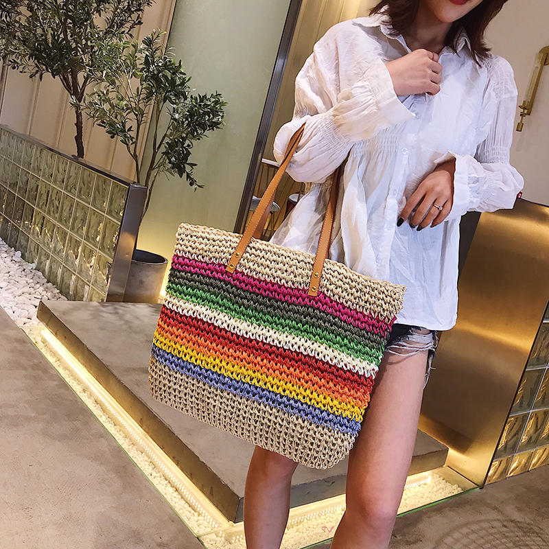 Women Rainbow Color Handbag Beach Bag Rattan Woven Handmade Knitted Straw Large Capacity Tote Leather Women Shoulder Bag Bohemia