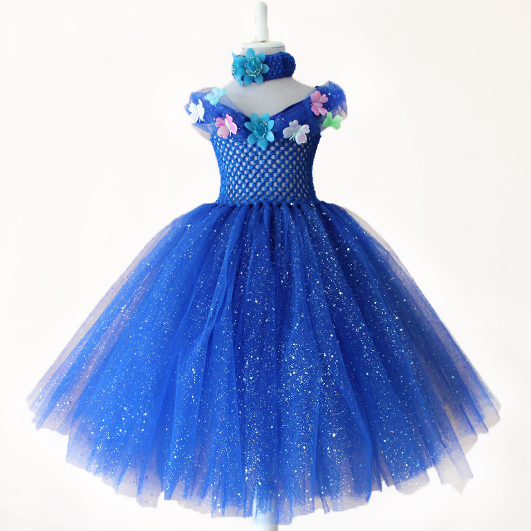 Vestidos azul electrico para ninas