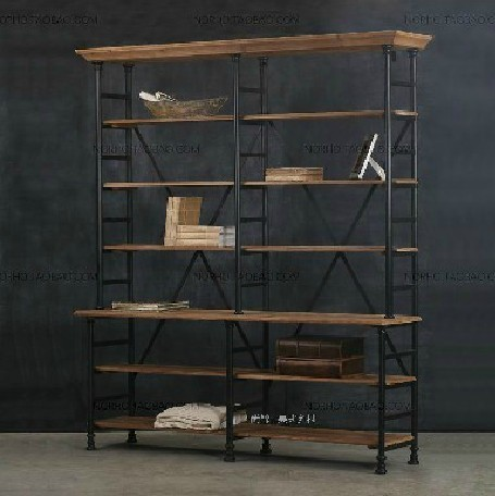 American Country To Do The Old Wrought Iron Wood Bookcase Shelves Display Storage Rack Rust Retro