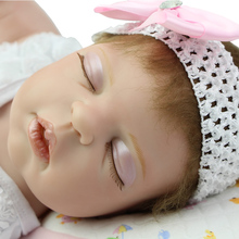 Limited Collection Sleeping Reborn Babies Girl 22 Inch Full Bodied Silicone Vinyl Newborn Girls Kids Birthday Xmas Gift