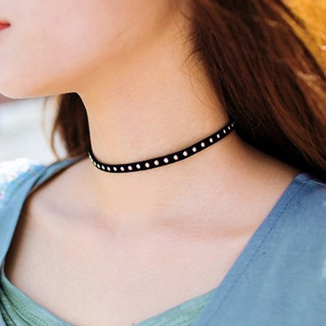 408818e1eb626 US $0.49 20% OFF|90's Punk Gothic Black Cord Rivet Choker Charm Retro  Necklace Leather Pendant Bib Chain Necklaces Free shipping-in Choker  Necklaces ...
