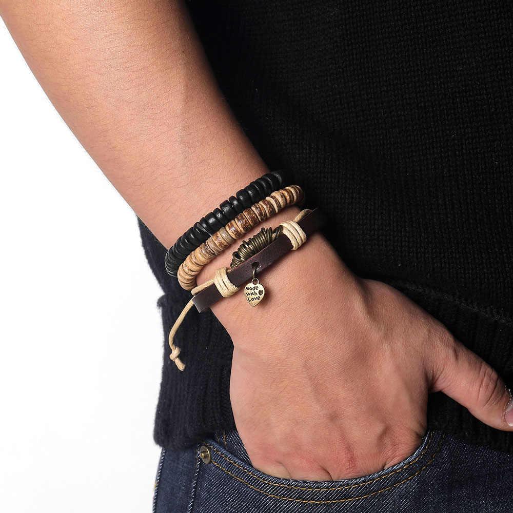 Nowy Vintage wielowarstwowy skórzany zestaw bransoletek dla mężczyzn kobiety urok liść z piór kamień koraliki drewniane bransoletki Pulseras HOT