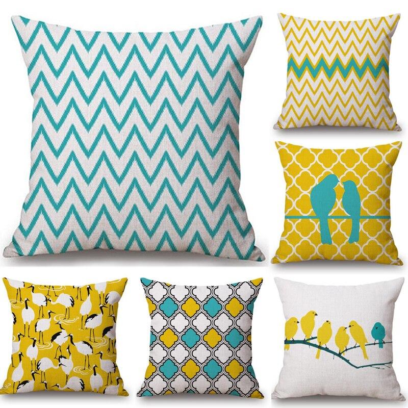 1pc Geometric Cushion Pillow Case Yellow Blue Waist Cushion Cover Bird Wave Shape Pillow Cover for Sofa Auto Home Decoration