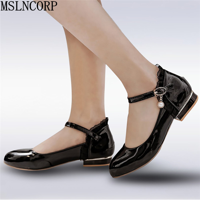 plus size 34-43 New Spring Autumn Women Loafers Patent Leather Shoes Fashion Woman Round Toe Buckle Casual Oxford Flat Shoes new round toe slip on women loafers fashion bow patent leather women flat shoes ladies casual flats big size 34 43 women oxfords