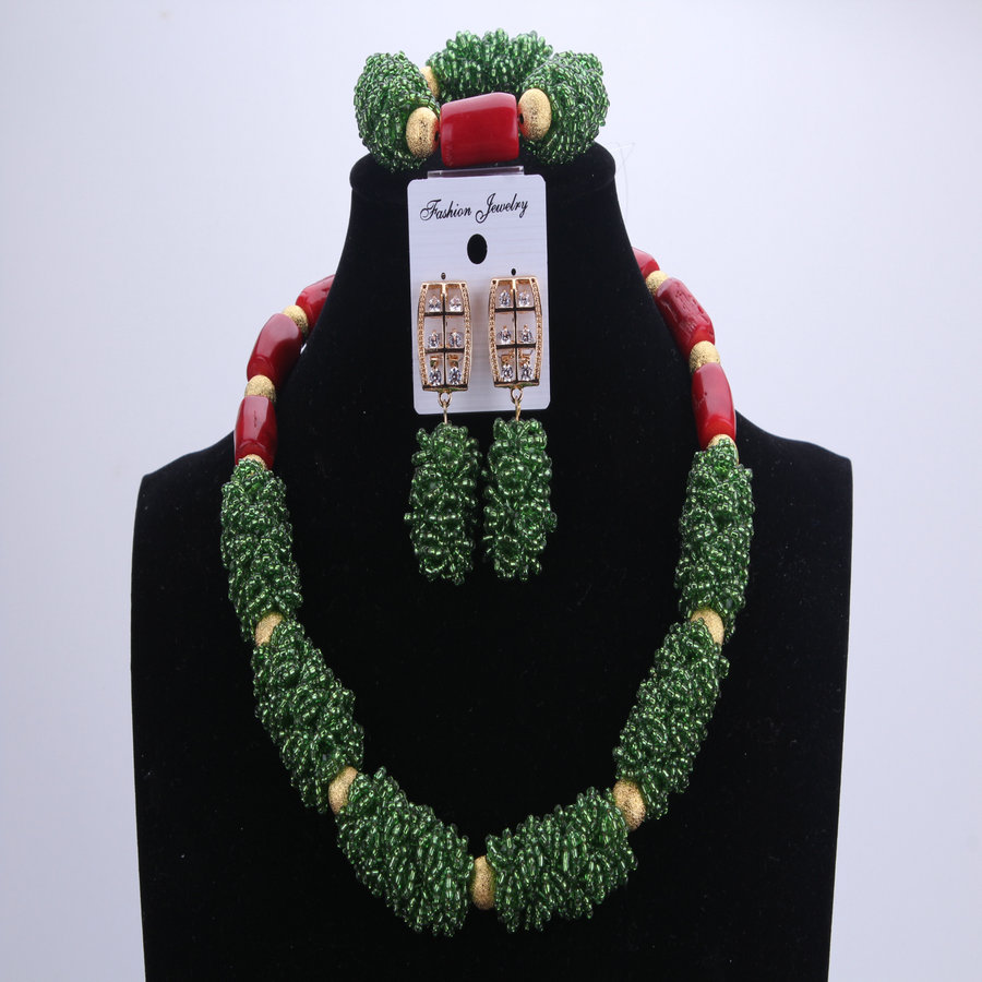 NEW Red Coral Green African Beads Wedding Jewelry Sets Nigerian Beaded Necklace Party Sets Bridal Necklace Earrings Bracelet цена