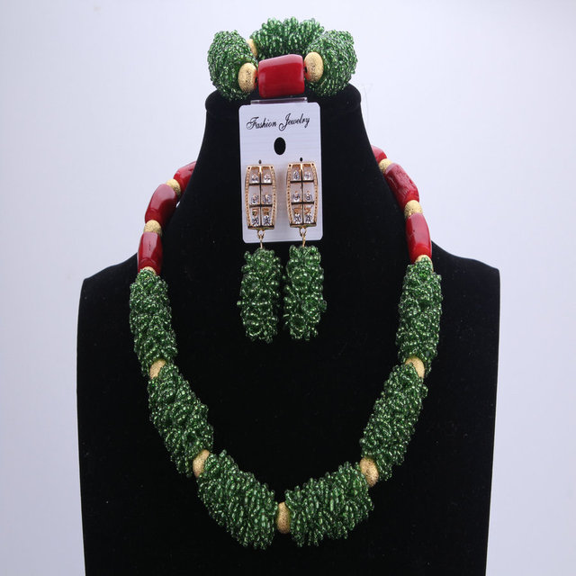 NEW  Red Coral Green African Beads Wedding Jewelry Sets Nigerian Beaded Necklace Party Sets Bridal Necklace  Earrings Bracelet