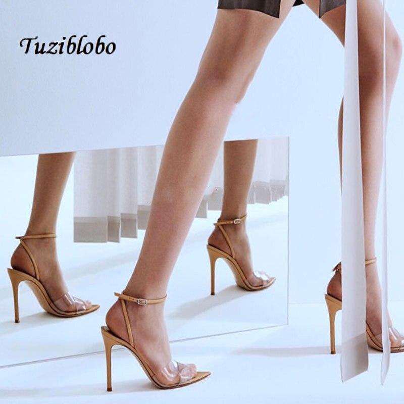 Women Sandals Summer PVC High Heels Sandals Pointed-toe Stilettos Transparent ShoesWomen Sandals Summer PVC High Heels Sandals Pointed-toe Stilettos Transparent Shoes