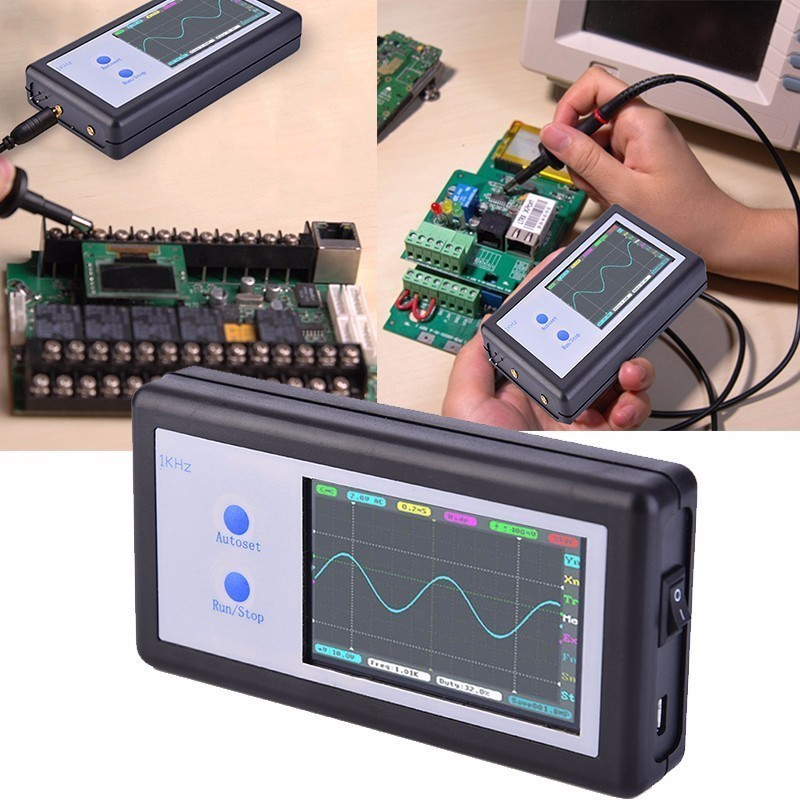 New D602 200KHz 2 Ch Mini Portable Pocket Sized Handheld Touch Panel LCD Digital Oscilloscope FREE