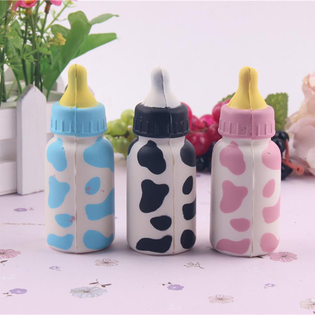 LeadingStar 10cm Home Decoration Craft Miniatures Soft Spring PU Baby Cute Simulation Milk Bottle Model Random Color