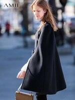 Amii минималистский 100% шерсть Женские Накидки пончо осень зима 2018 элегантный дизайн поддельные из двух частей ремень женские свободные шерст