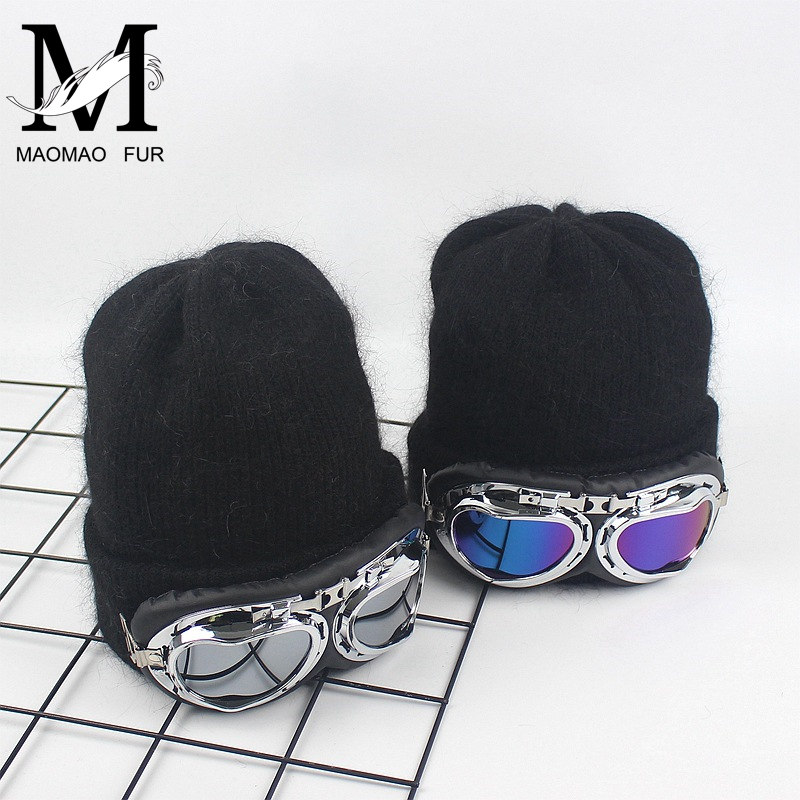 New Women Winter Hat Thick Double Layer Cashmere Skullies Female Cap With Cool Sun Glasses Warm Rabbit Fur Knitted Beanies Hat