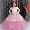 Personalizado feito de cetim branco rosa Puffy vestido meninas vestido de criança desenhos Abiti Da Comunione Vintage vestidos menina